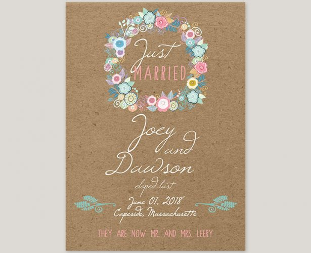 rustic chic flower wreath kraft wedding elopement cards
