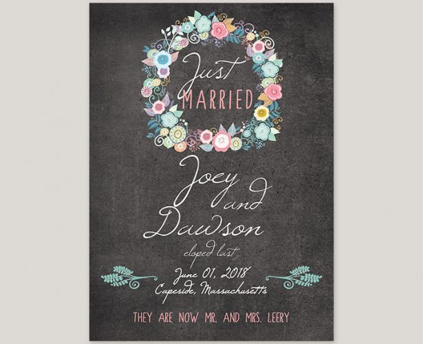 shabby chic floral wreath chalkboard wedding announcement cards