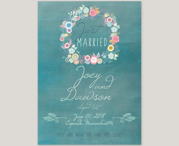 shabby chic floral wreath teal wedding elopement announcements