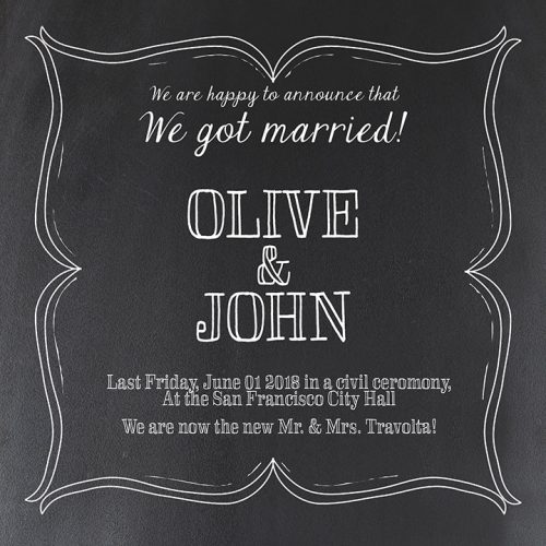Chalkboard wedding announcement or elopement cards