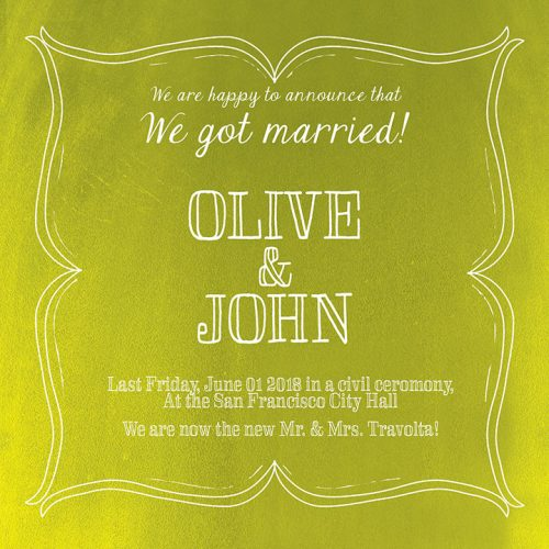 chartreuse green wedding announcement or elopement cards