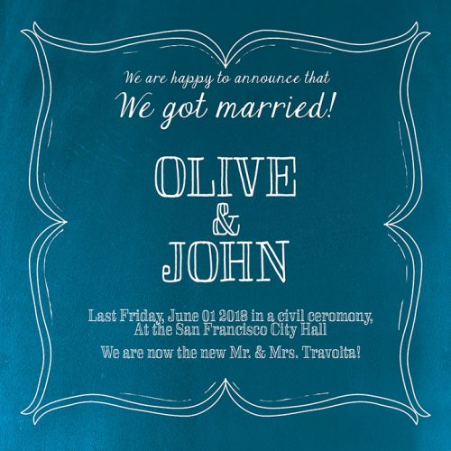 peacock blue wedding announcement or elopement cards