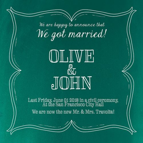 teal green wedding announcement or elopement cards