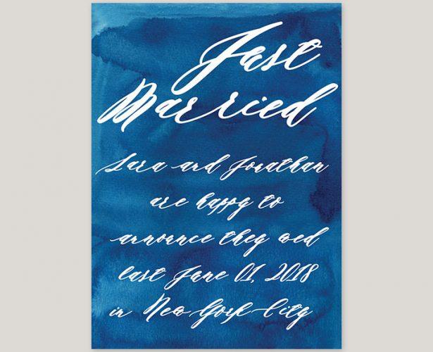 indigo blue watercolor wedding announcement elopement cards