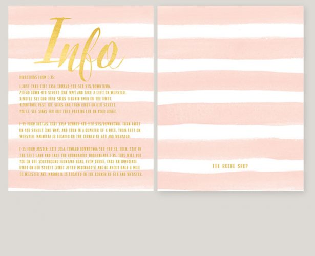 Blush watercolor stripes & gold wedding insert card