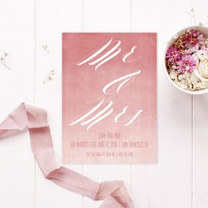 coral pink ombre watercolor wedding elopement cards
