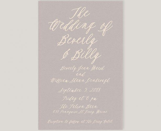 Dove grey calligraphy wedding invitations