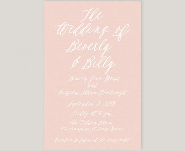 Blush calligraphy wedding invitations