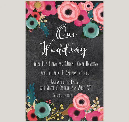 Spring flowers on chalkboard wedding invitations