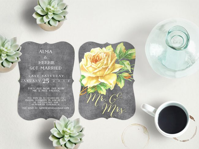 Vintage yellow rose on chalkboard wedding announcement cards