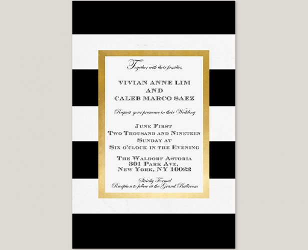 black and white stripes w/ gold frame wedding invitations