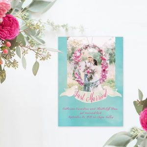 turquoise watercolor wedding announcement elopement cards