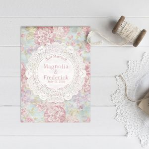 Shabby chic floral wedding announcements