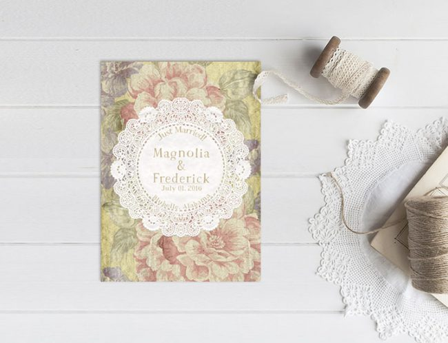 Shabby chic floral wedding elopement cards