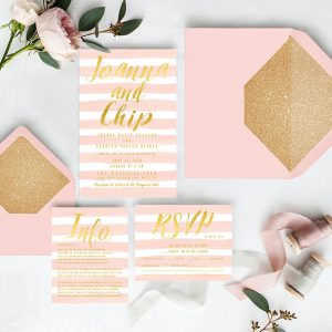 Blush watercolor stripes & gold wedding invitations