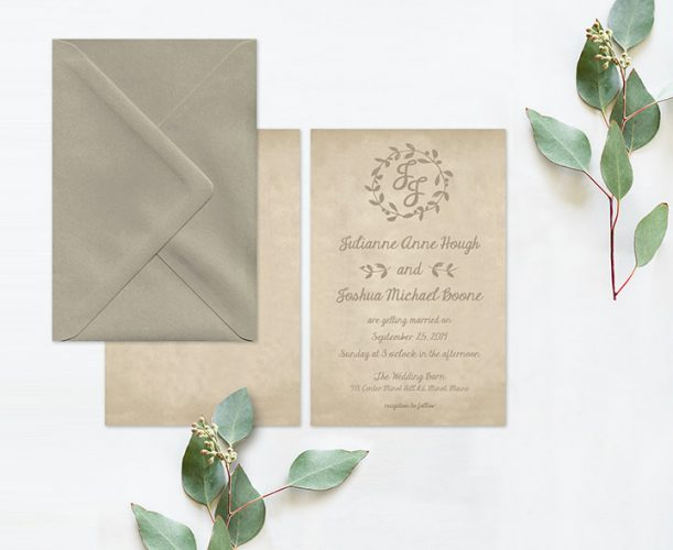 Rustic chic brown wedding invitations