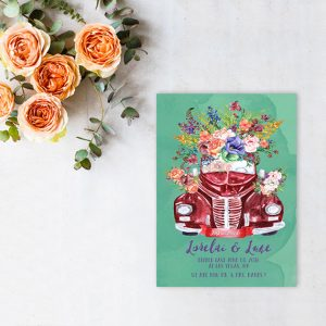 watercolor vintage floral car green wedding elopement cards