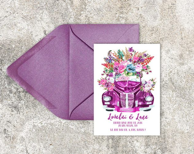 watercolor vintage floral car elopement cards