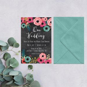 Spring flowers on chalkboard wedding invitations