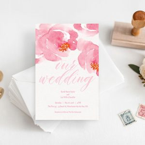 Watercolor flowers wedding invitations