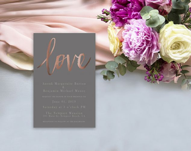 Rose gold and taupe wedding invitations