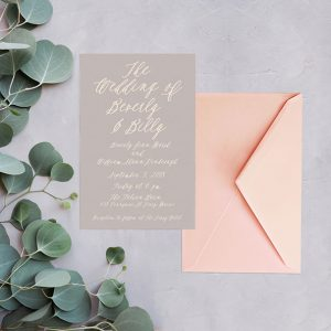Dove grey calligraphy wedding invitations