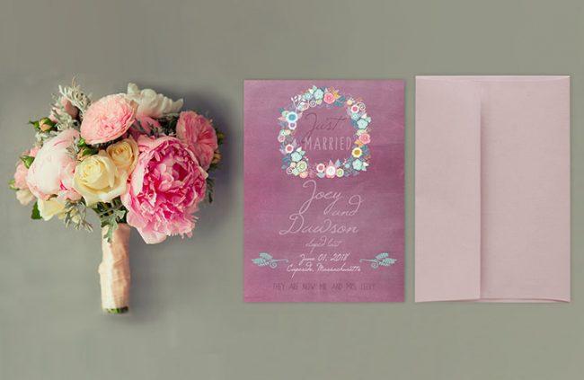 cottage chic mauve wedding announcement elopement cards