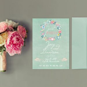 shabby chic floral wreath mint green wedding announcement cards