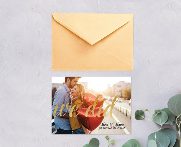 Gold calligraphy photo wedding announcement cards