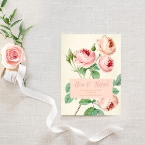 Vintage chic blush roses wedding announcement elopement cards