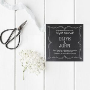 Chalkboard wedding announcement or elopement cards