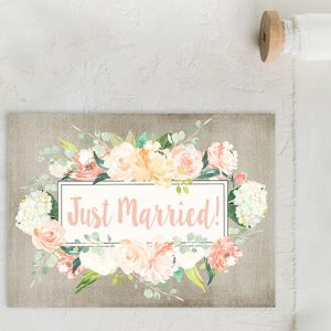 watercolor flowers on grey wedding elopement cards