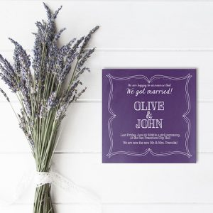 violet wedding announcement or elopement cards