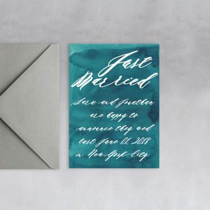 teal green watercolor wedding announcement elopement cards