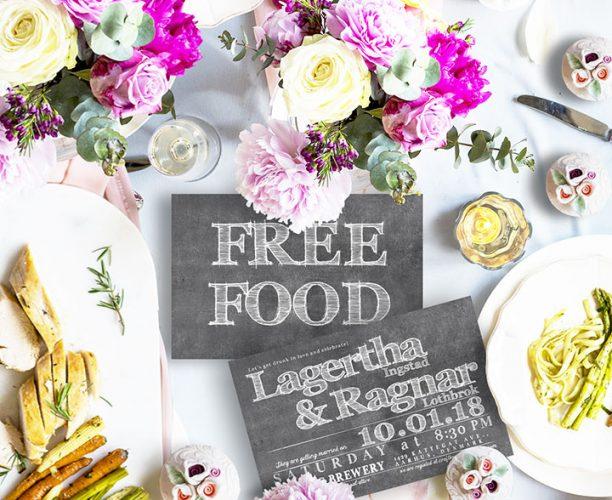 Funny free food chalkboard wedding invitations
