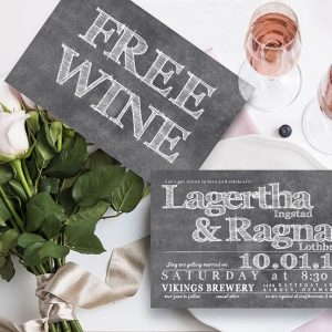 Funny wine beer chalkboard wedding invitations