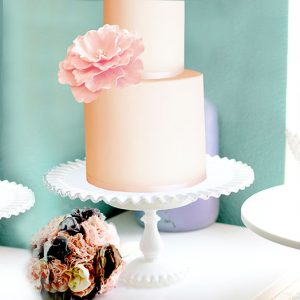 Ruffle milk glass cake stand