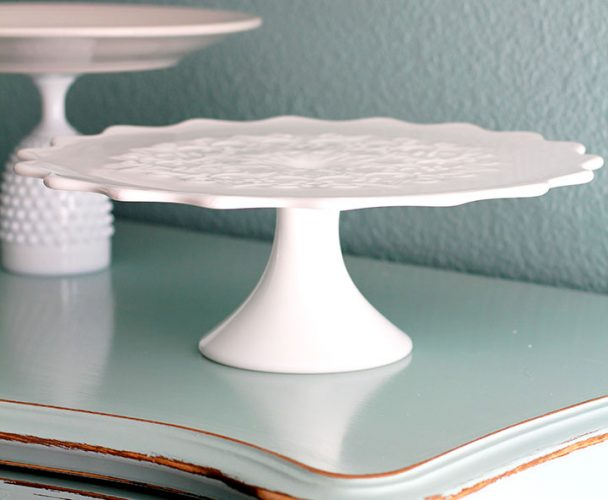 Vintage Spanish Lace Milk Glass Cake Stand