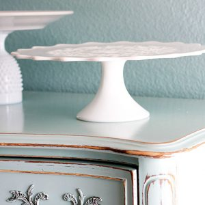 Vintage Spanish Lace Milk Glass Cake Stand