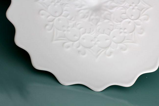 The CASABLANCA Vintage Spanish Lace Milk Glass Cake Stand