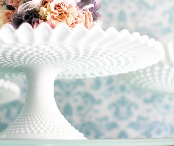 Vintage Milk Glass Hobnail Cake Stand