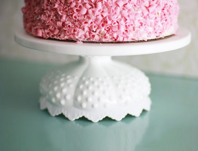 scallop hobnail cake stand