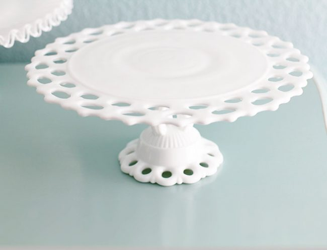 Vintage lace milk glass cake stand