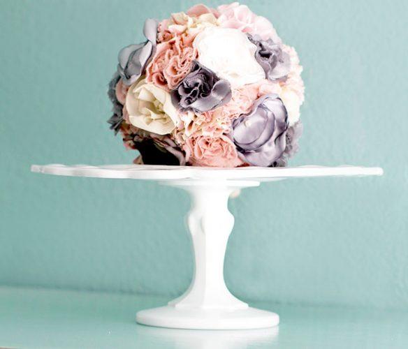 Vintage scallop milk glass cake stand