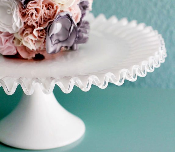 Vintage Silvercrest Ruffle Milk Glass Cake Stand