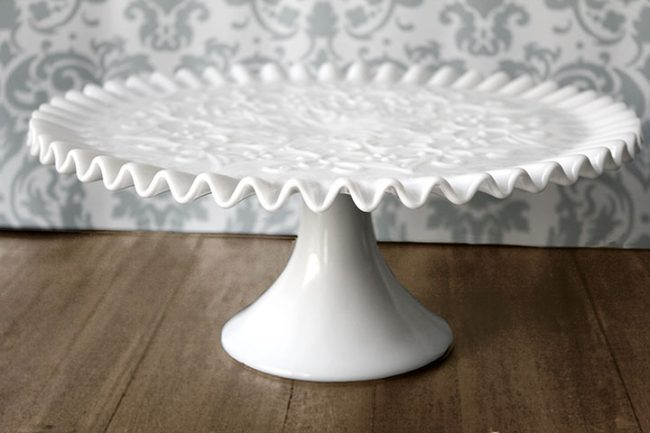 Vintage Scroll Milk Glass Cake Stand