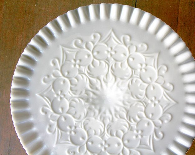 The MARRAKESH Vintage Scroll Milk Glass Cake Stand
