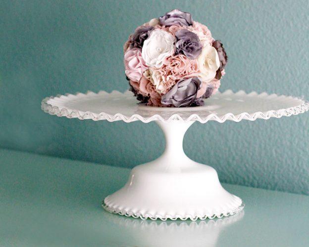 Ruffle milk glass cake stand
