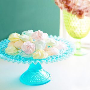 turquoise opalescent hobnail cake stand