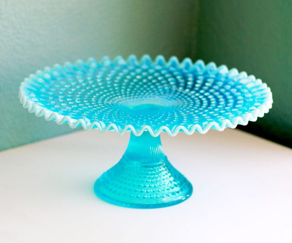 Vintage turquoise opalescent hobnail cake stand